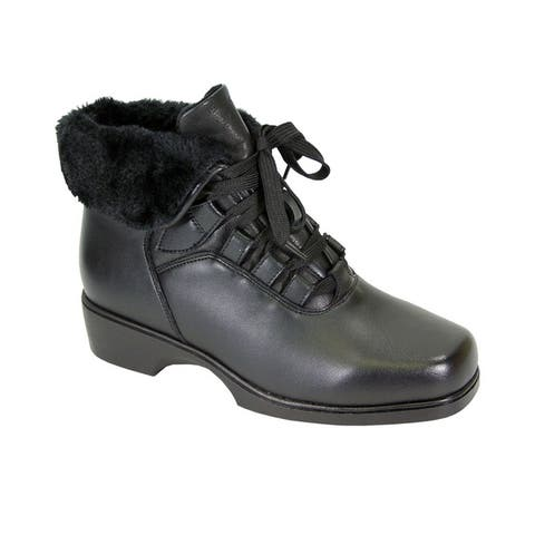 Peerage Paola Women Wide Width Leather Bootie with Laces/Fleece Lining
