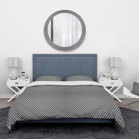 Designart 'Metal Grill 3D Circles' Abstract Bedding Set - Duvet Cover & Shams