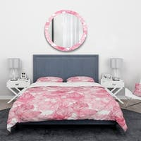 Designart 'Hand Drawn Red Flowers' Floral Bedding Set - Duvet Cover & Shams