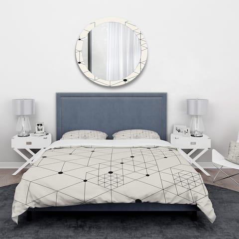 Designart 'Geometric Triangular Composition' Mid-Century Modern Bedding Set - Duvet Cover & Shams