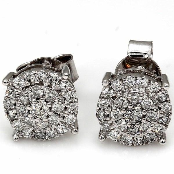 Shop Pompeii3 10k White Gold 1/2 Ct TDW Diamond Halo Studs