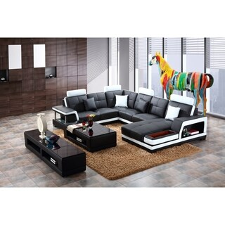 Black and White Modern Contemporary Real Leather Sectional Living Room Set with Storage Shelf, Coffee Table and TV Stand