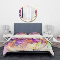 Designart 'Purple New York Skyline' Cityscape Bedding Set - Duvet Cover & Shams