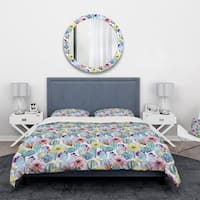 Designart 'Blossoming Cactus with Tropical Flower' Floral Bedding Set - Duvet Cover & Shams