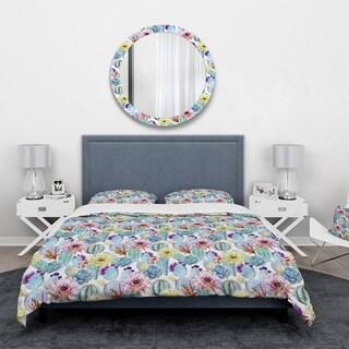 Designart 'Blossoming Cactus with Tropical Flower' Floral Bedding Set - Duvet Cover & Shams