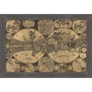 Canvas Art Framed 'World Map with Planets' by W. Godson: Outer Size 27 x 18-inch