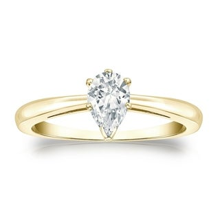 Pear Shape Solitaire Diamond Engagement Ring 1 2ctw 14k Gold By Auriya