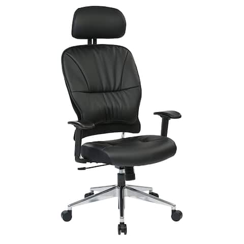 Space Seating Black Bonded Leather Managers Chair with Headrest