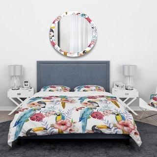 Designart 'Parrots, Hibiscus and Toucan' Animals Bedding Set - Duvet Cover & Shams