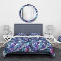 Designart 'Blue Tropical Leaves' Tropical Bedding Set - Duvet Cover & Shams