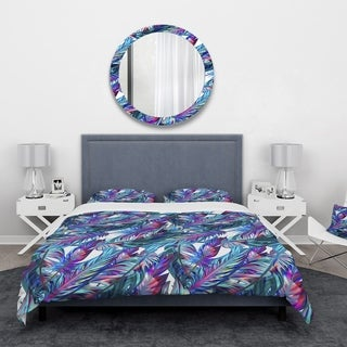 Designart - Blue Tropical Leaves - Tropical Duvet Cover Set
