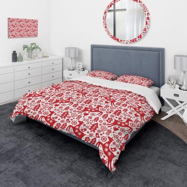 Designart Scandinavian Raindeed With Little Birds And Christmas Tree Animals Bedding Set Duvet Cover Shams On Sale Overstock 24241090