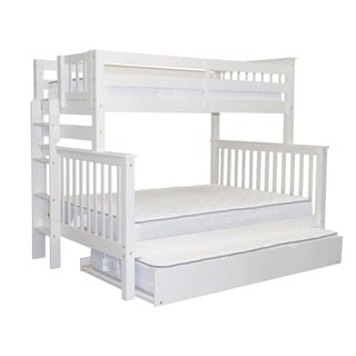 Bedz King White Brazilian Pine Wood Twin Over Full Mission Style Bunk Beds with End Ladder and Twin Trundle