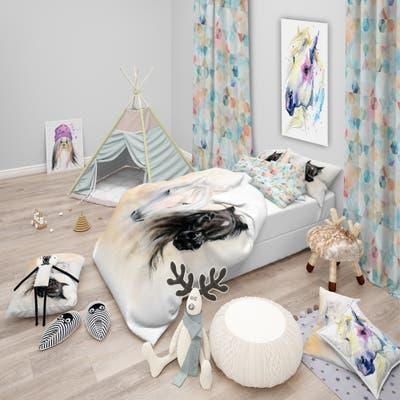 Designart 'Black and White Horse Heads' Animal Bedding Set - Duvet Cover & Shams