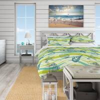 Designart 'Underwater Sea life, sea horse and star fish' Coastal Bedding Set - Duvet Cover & Shams