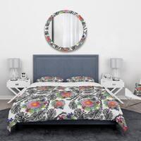 Designart 'Peony Flower Garden' Abstract Bedding Set - Duvet Cover & Shams