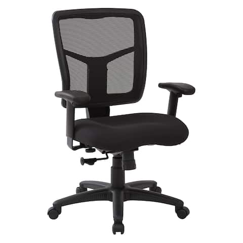 Work Smart Black Mesh Back with Dove Black Fabric Seat Chair, 2-to-1 Synchro Tilt