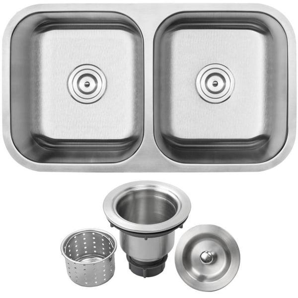"31 1/4"" Ticor S225 Haven Series 16-Gauge Stainless Steel Undermount Double Basin Kitchen Sink"
