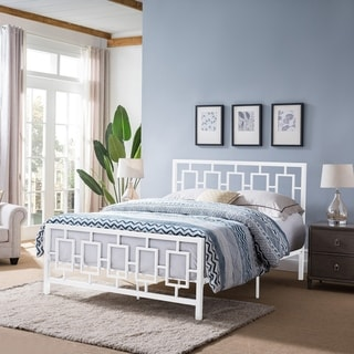 Claudia Modern Iron Queen Bed Frame by Christopher Knight Home (White)