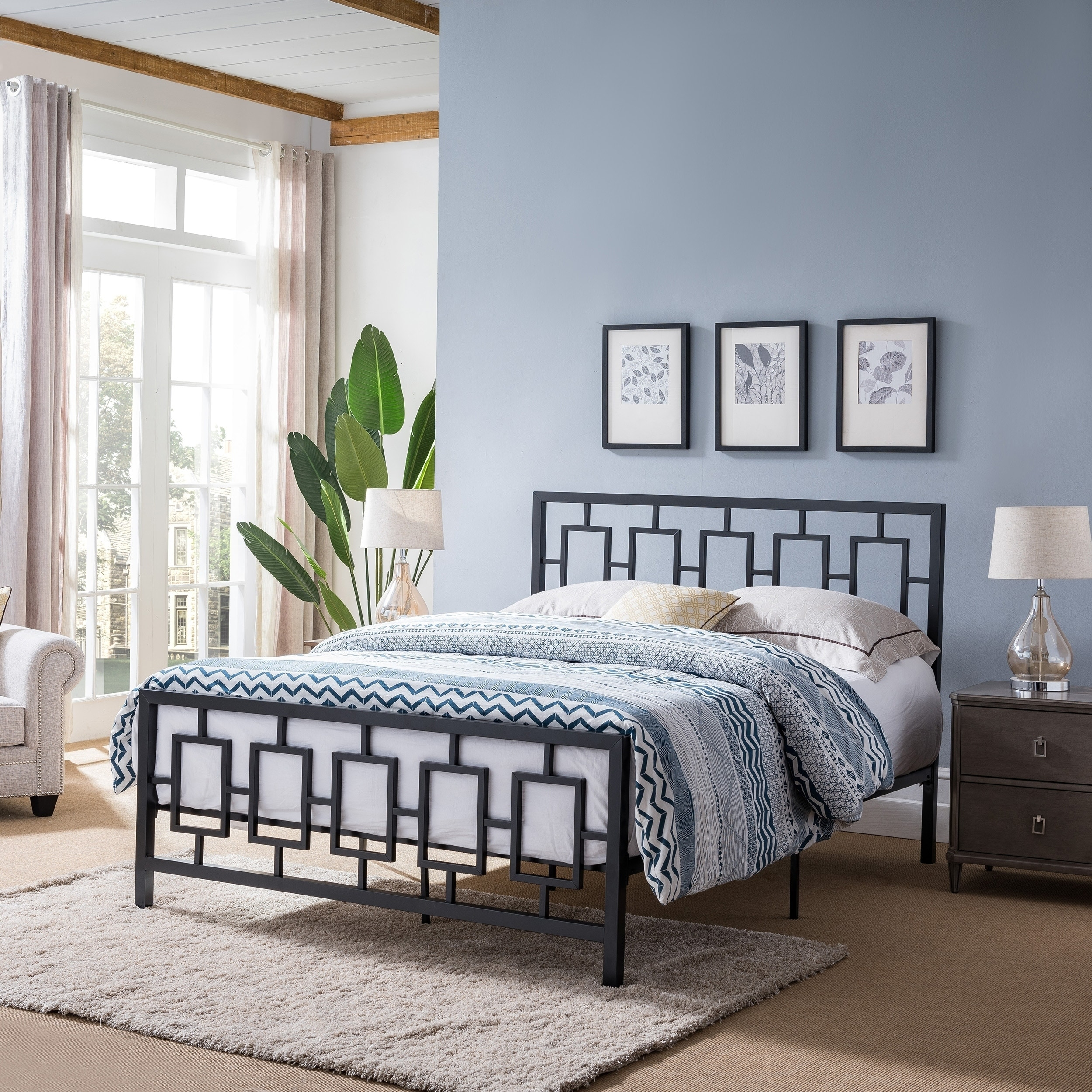 Claudia Modern Iron Queen Bed Frame By Christopher Knight Home On Sale Overstock 24241323