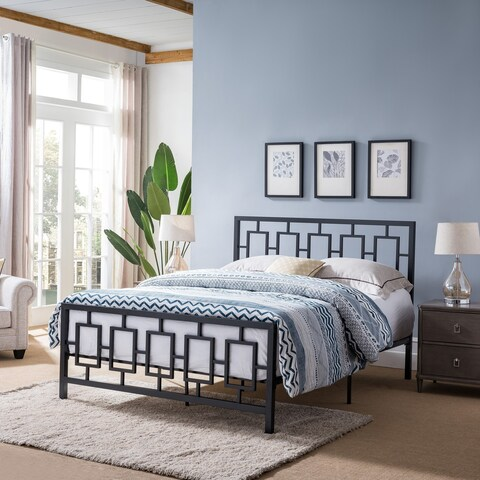 Claudia Queen-Size Platform Iron Bed Frame by Christopher Knight Home
