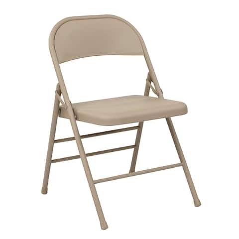 Work Smart Folding Chair with Metal Seat and Back
