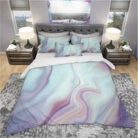 Designart 'Marbled Liquid Agate Colours' Modern & Contemporary Bedding Set - Duvet Cover & Shams