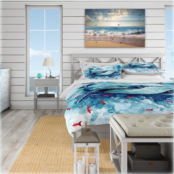 Designart 'Deep sea world with whalebone and little red fish' Coastal Bedding Set - Duvet Cover & Shams