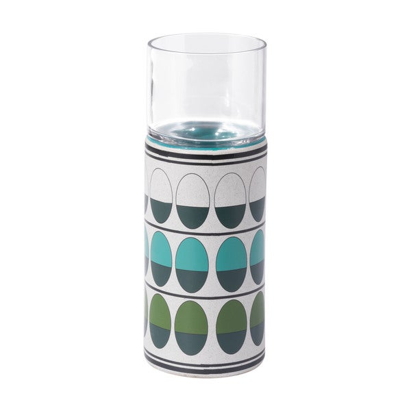 Retro Md Candle Holder Green & Teal