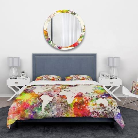 Designart 'World Map in Great Colors' Watercolor Map Bedding Set - Duvet Cover & Shams - Multi-color