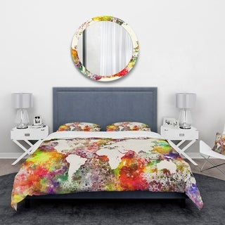 Designart 'World Map in Great Colors' Watercolor Map Bedding Set - Duvet Cover & Shams - Multi-color
