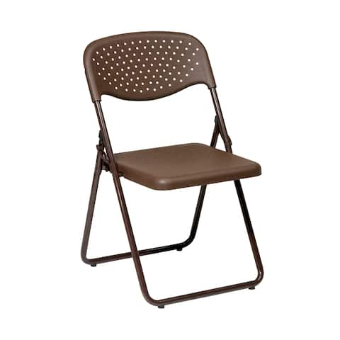 Work Smart Folding Chair with Plastic Seat and Back