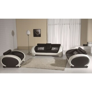 White and Black Modern Contemporary Real Leather Configurable Living Room Furniture Set with Sofa, Loveseat and Chair