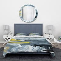 Designart 'Yellow, grey and White Hand Painted Marble Acrylic' Mid-Century Modern Bedding Set - Duvet Cover & Shams