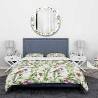 Designart 'Handdrawn painting of Meadow with Butterflies, Birds and Herbs' Floral Bedding Set - Duvet Cover & Shams