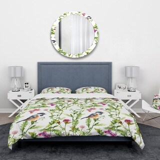 Designart - Handdrawn painting of Meadow with Butterflies, Birds and Herbs - Floral Duvet Cover Set
