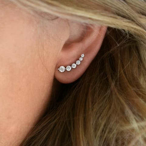 TwoBirch Sterling Silver Crawler Climber Earrings with Cubic Zirconia