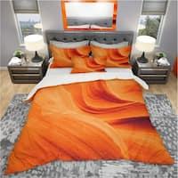 Designart 'Orange Upper Antelope Canyon' Landscape Bedding Set - Duvet Cover & Shams
