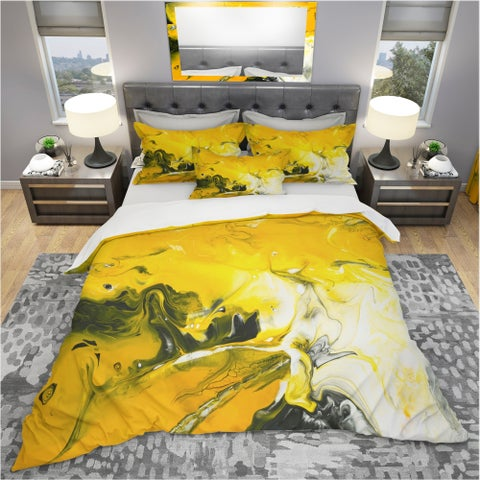 Designart 'Yellow Acrylic Hand Painted Marble' Modern & Contemporary Bedding Set - Duvet Cover & Shams