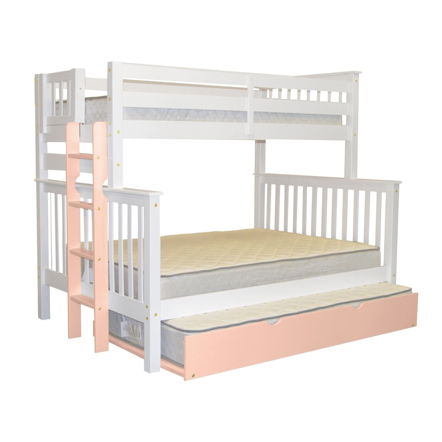 Bedz King Bunk Beds Twin Over Full Mission Style With A Pink End Ladder And A Twin Pink Trundle White Overstock 24241650