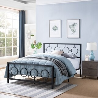 Francoise Modern Low-Profile Queen-Size Geometric Platform Iron Bed Frame by Christopher Knight Home