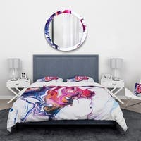 Designart 'Purple, Pink and Blue Hand Painted Marble Composition' Mid-Century Modern Bedding Set - Duvet Cover & Shams