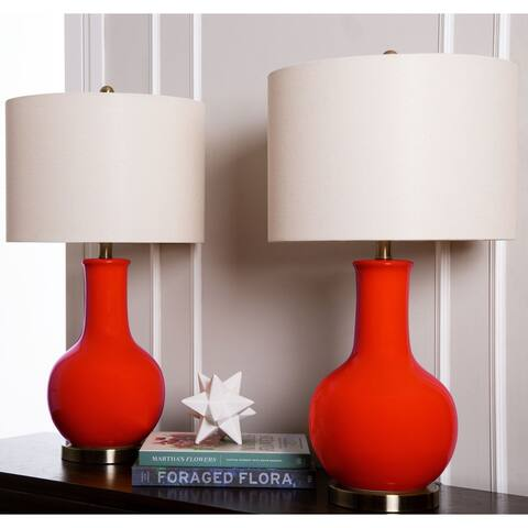 Abbyson Gourd Red Ceramic 29-inch Table Lamp (Set of 2)