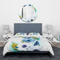 Designart 'Handpainted Anemones And Peacock Feathers' Floral Bedding Set - Duvet Cover & Shams