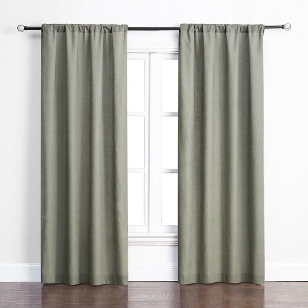 Ashbury Green Cotton-blend Rod-pocket Room Darkening Curtain Panel