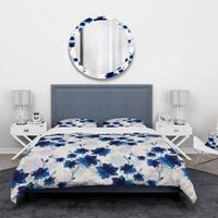 Designart 'Abstract Blue Flowers' Floral Bedding Set - Duvet Cover & Shams