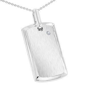 "Sterling Silver Diamond Dog Tag Pendant & 24"" Cable Silver Chain Mens Necklace by Luxurman"