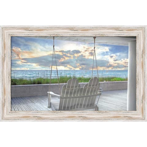 Canvas Art Framed 'Swing At The Beach' by Celebrate Life Gallery: Outer Size 25 x 16-inch