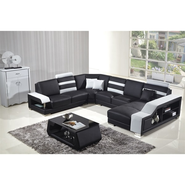 Black and White Modern Contemporary Real Leather Sectional Living Room Furniture Set with Bookshelf and Coffee Table