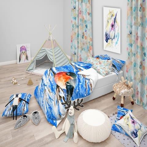Designart 'Bullfinch in Snow Storm' Animals Bedding Set - Duvet Cover & Shams